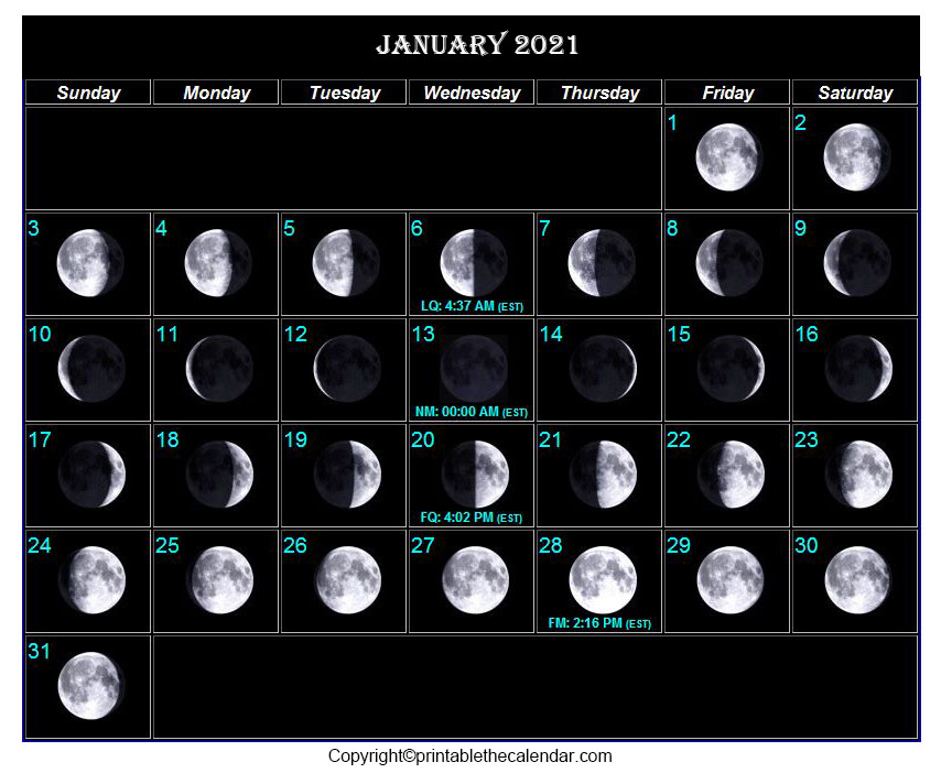 January Moon Phase Calendar 2021