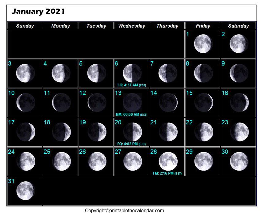 January New Moon Calendar 2021