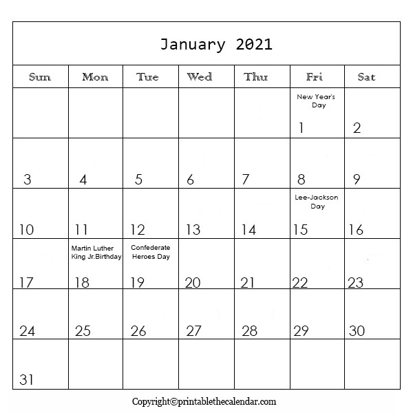 January Holiday Calendar 2021