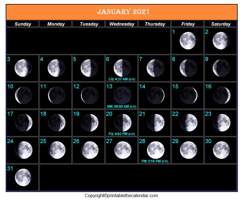 January Full Moon Calendar 2021