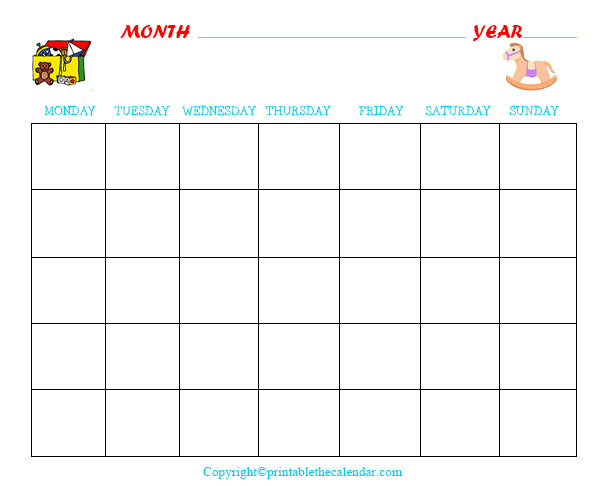 Printable Blank Monthly Planner for Kids