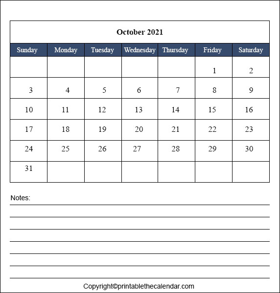 2021 October Blank Calendar with Notes