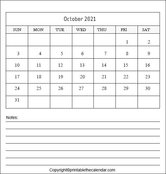 October Calendar 2021 with Notes