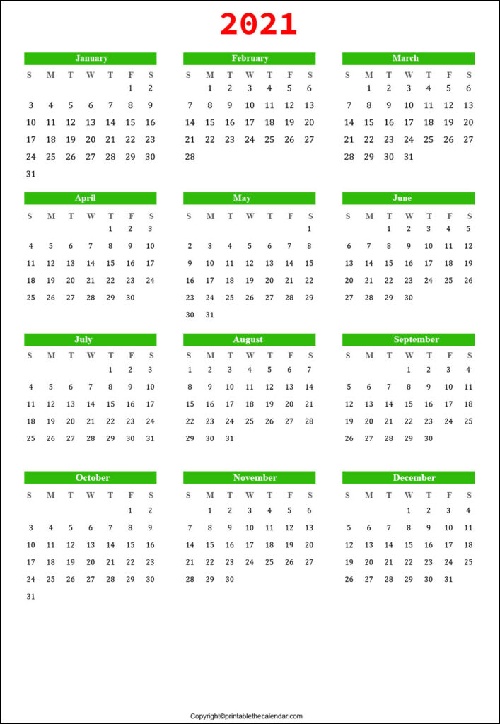 2021 Yearly Printable Calendar Template
