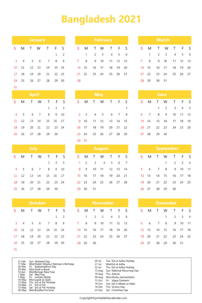 Bangladesh Calendar 2021 with Holidays