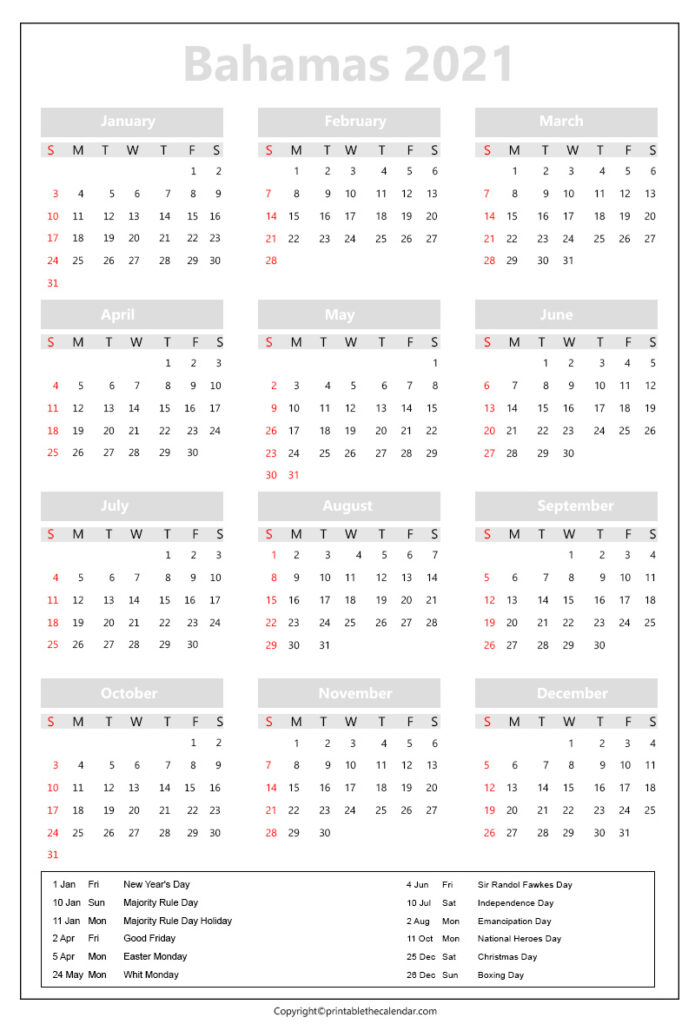 Bahamas calendar 2021 with holidays