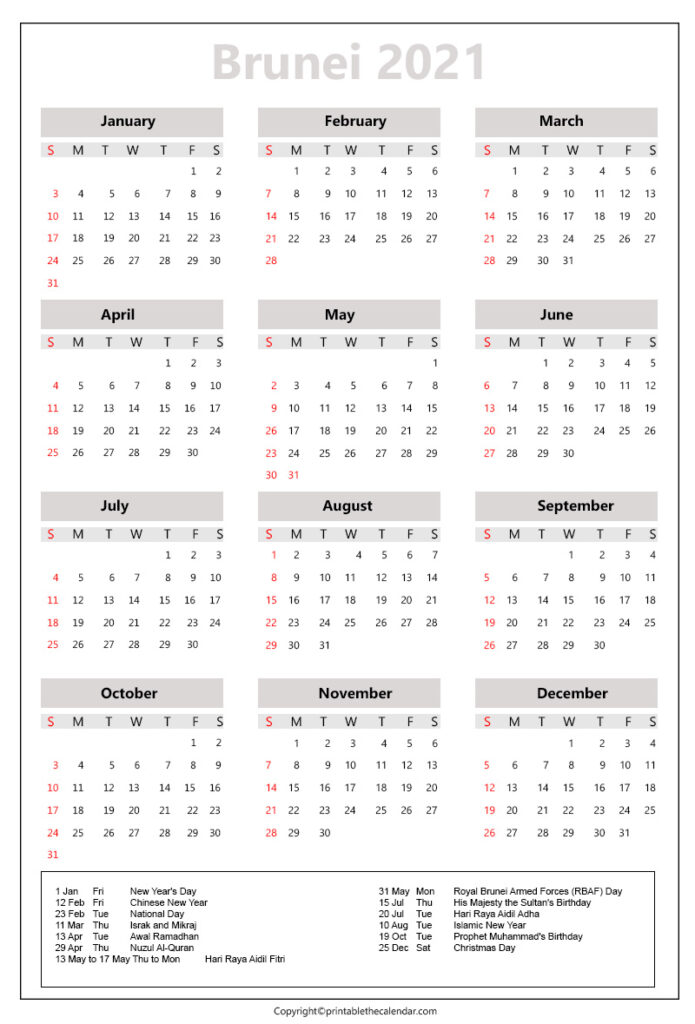 Brunei calendar 2021 with holidays