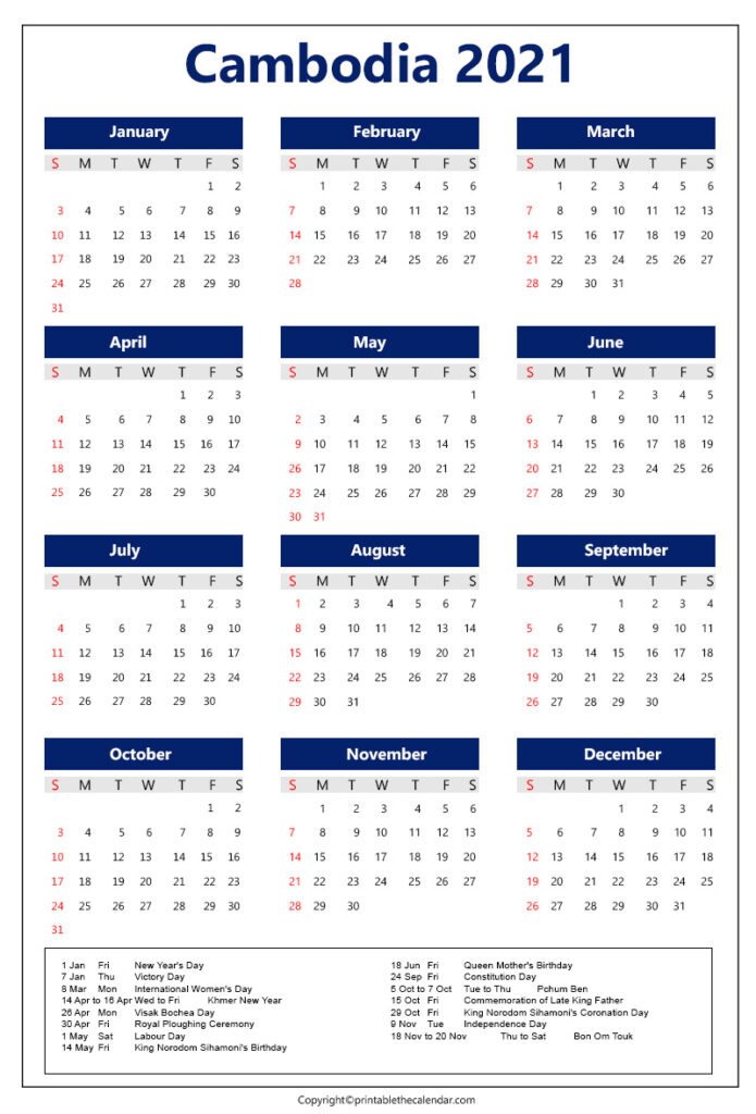 Cambodia calendar 2021 with holidays