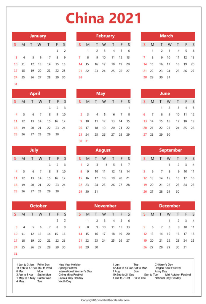 China calendar 2021 with holidays