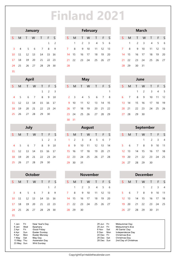 Finland Calendar 2021 with holidays