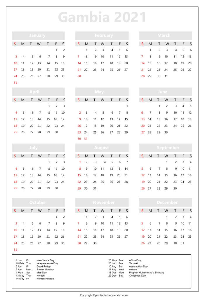 Gambia Calendar 2021 with holidays