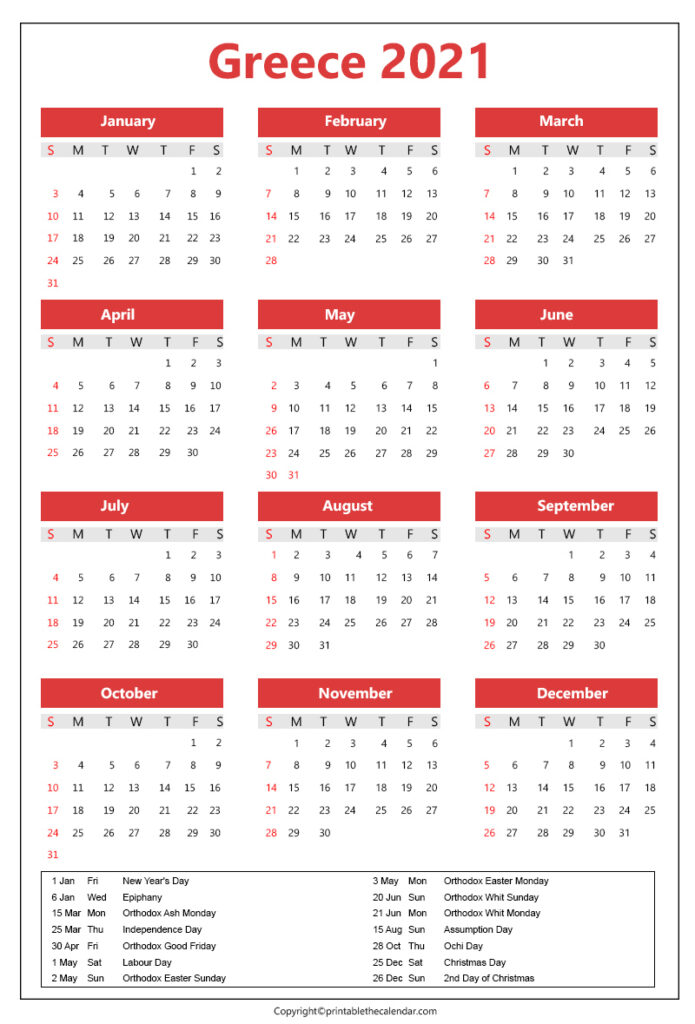 Greece Calendar 2021 template