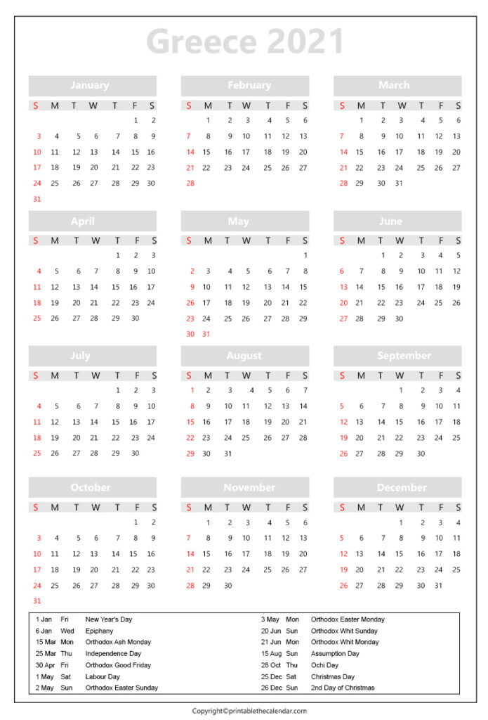 Greece Calendar 2021 with holidays