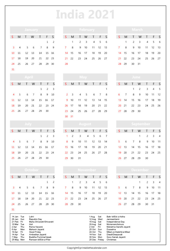 India Calendar with Holidays 2021