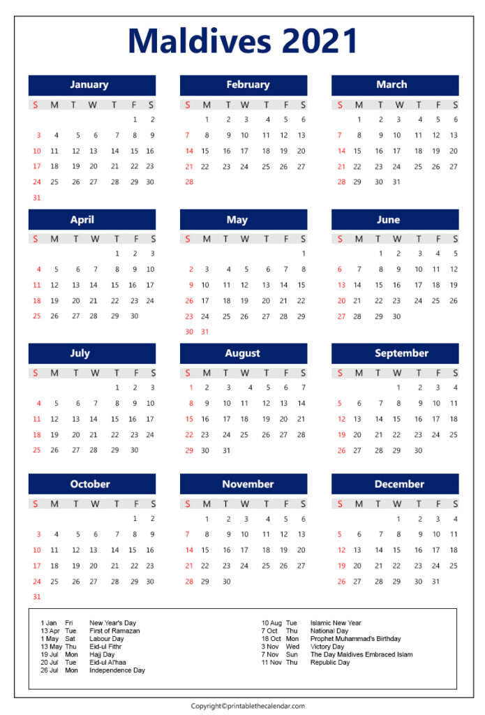 Maldives Calendar 2021 with holidays