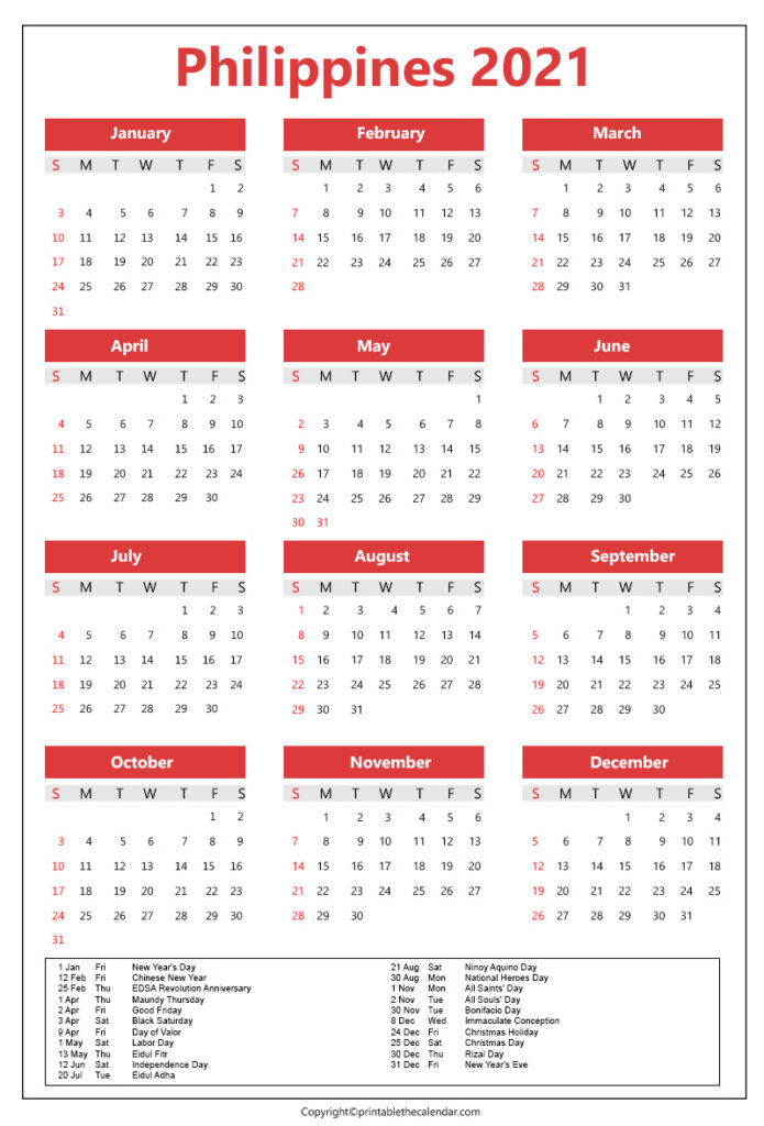 Philippines Calendar 2021 with holidays