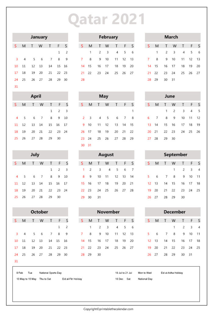 Qatar calendar 2021 with holidays