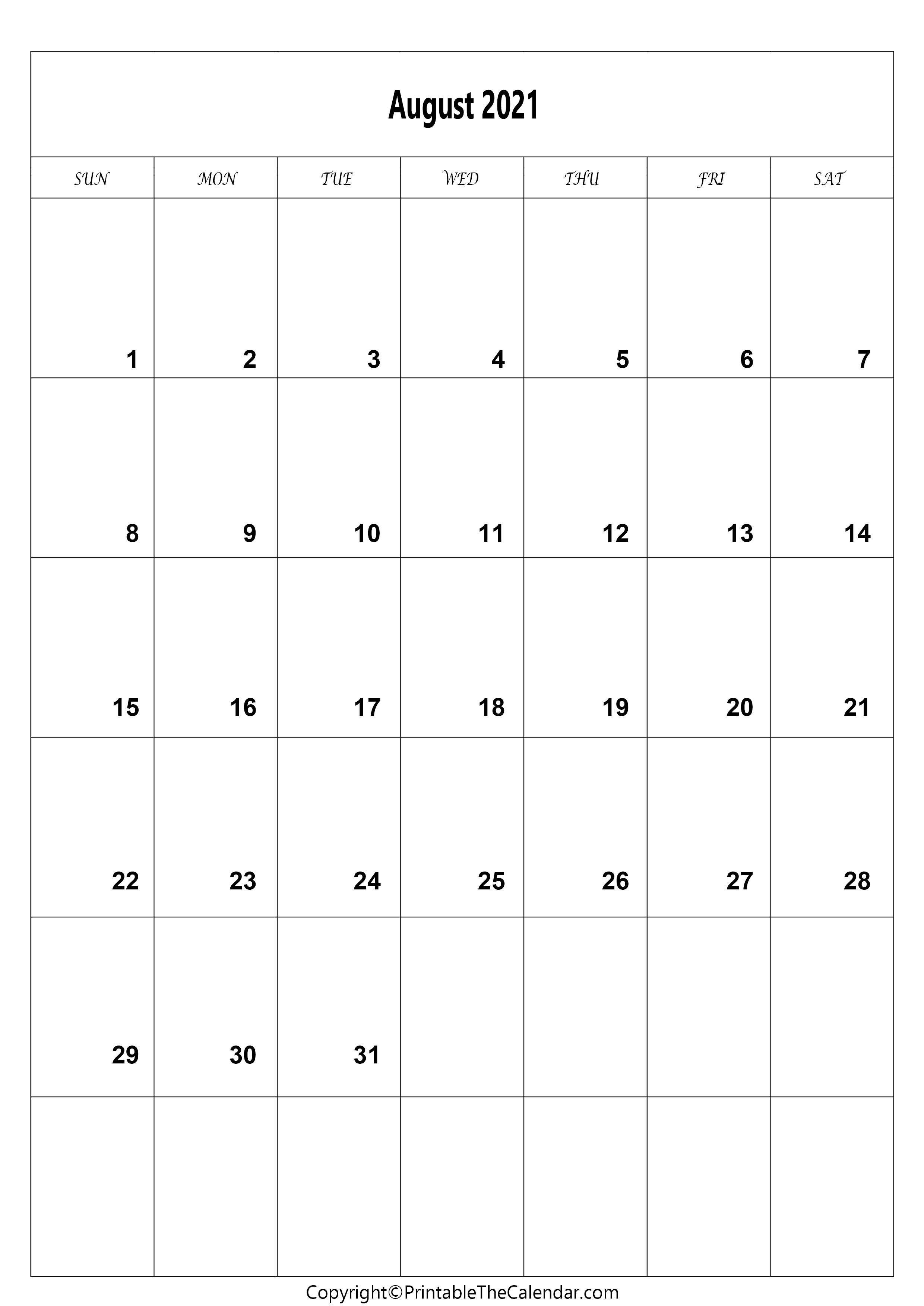August 20 Calendar A20 Size [Free Printable Template]