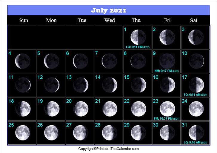 July 2021 Full Moon Calendar