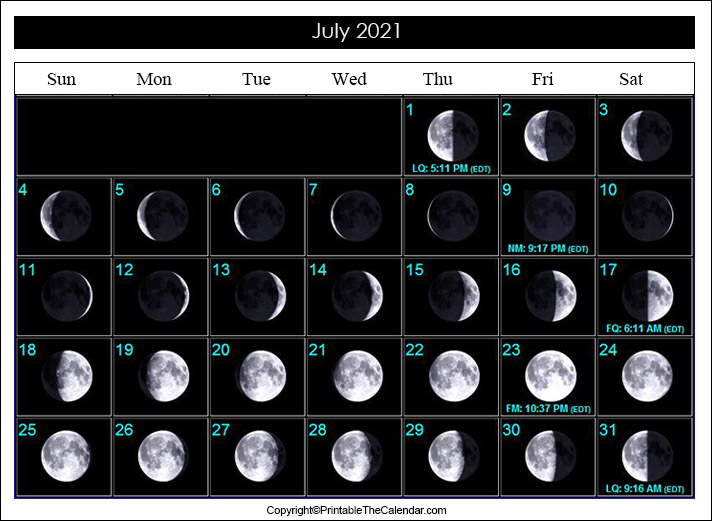 July 2021 Moon Phase Calendar
