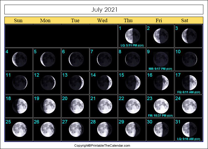July 2021 New Moon Calendar