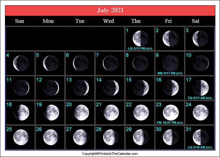 July Full Moon Schedule 2021