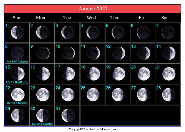 August Full Moon Schedule 2021