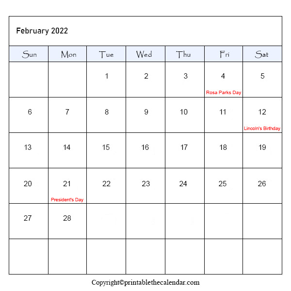 February 2022 Holiday Calendar