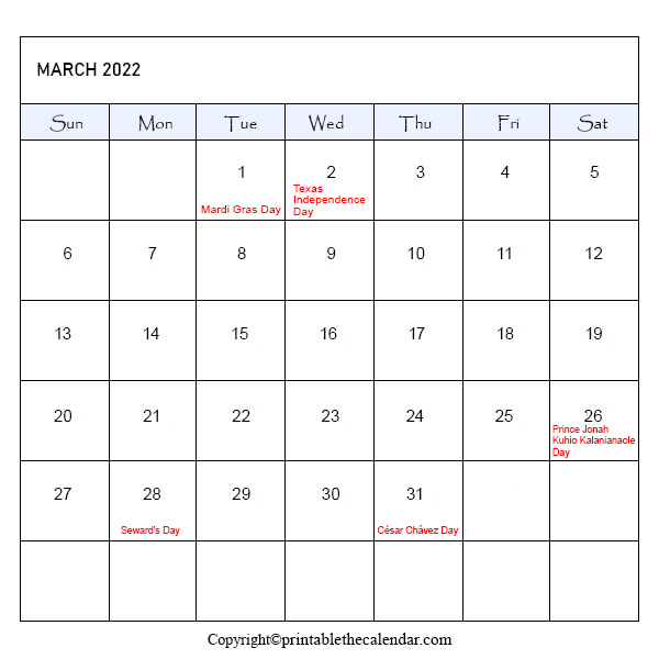 March 2022 Holiday Calendar