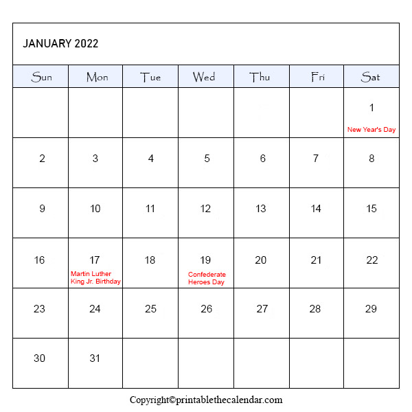 January 2022 Holiday Calendar