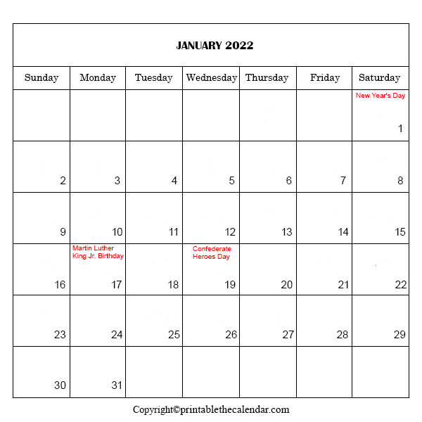 January Calendar With Holidays 2022
